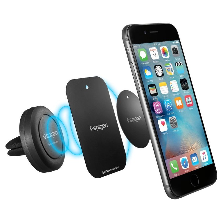 Car Mount, Spigen® [Air Vent Magnetic] [Quad Neodymium Core] Car Mount Holder for iPhone 6s / 6 / 6s Plus / 6 Plus, Galaxy Note 5/ S6 Edge Plus / S6 / S6 Edge /Note 4 and More Devices - Black (SGP11583)